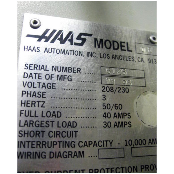 used haas vf-0e cnc vertical machining center - tag